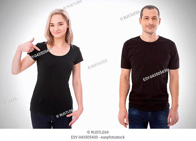 5e772553 Shirt design and people concept - close up of young man and woman in blank  black