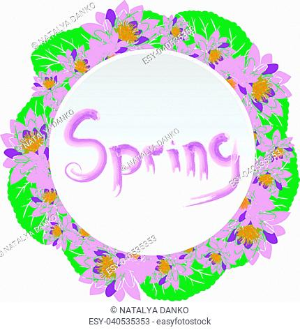 round wreath with purple water lotus and green leaves isolated on white background, in the middle inscription brush spring