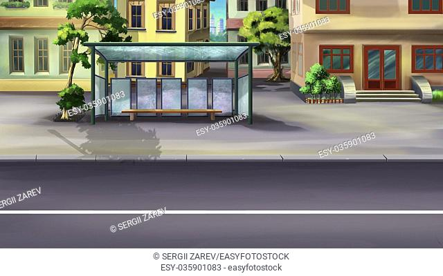 Digital painting of the designated place where buses stop for passengers to board