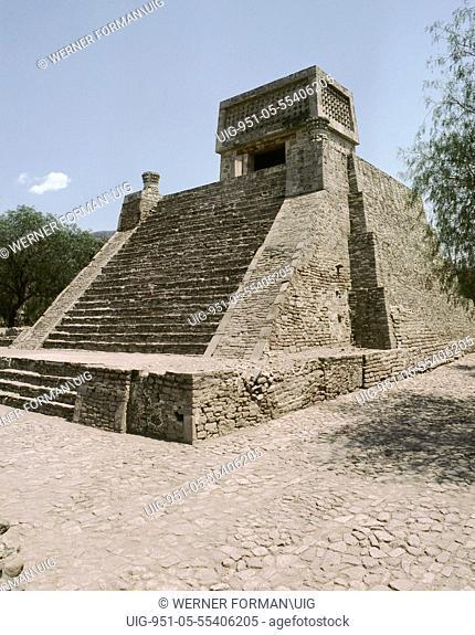 Small, Aztec period temple pyramid known as Santa Cecilia Acatitlan