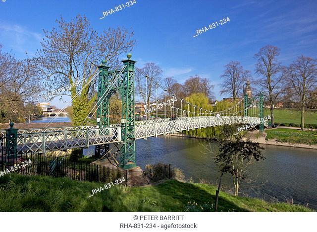 Pedestrian Suspension Bridge over River Severn, The Quarry Park, Shrewsbury, Shropshire, England, United Kingdom, Europe