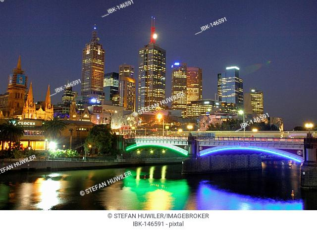 Skyline with the Yarra River, Melbourne, Victoria, Australia