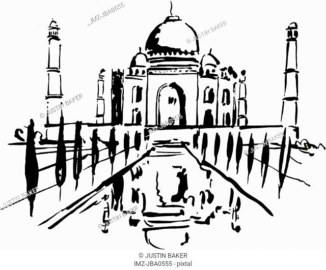 A black and white drawing of Taj Mahal