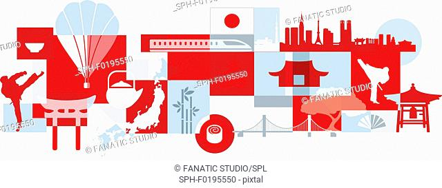 Illustration of tourist attractions in Japan