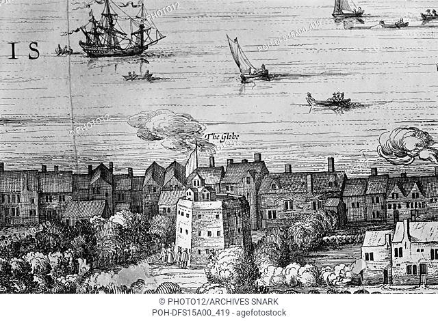 Claes Jansz Visscher Dutch school View of the Globe Theatre. Detail from Londinum Florentiss[i]ma Britanniae Urbs, 1616. Engraving on paper