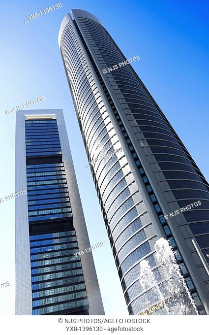 View from below of Caja Madrid Tower and Sacyr Vallehermoso Tower, located in Cuatro Torres Business Area of Madrid, Comunidad de Madrid, Spain, Europe
