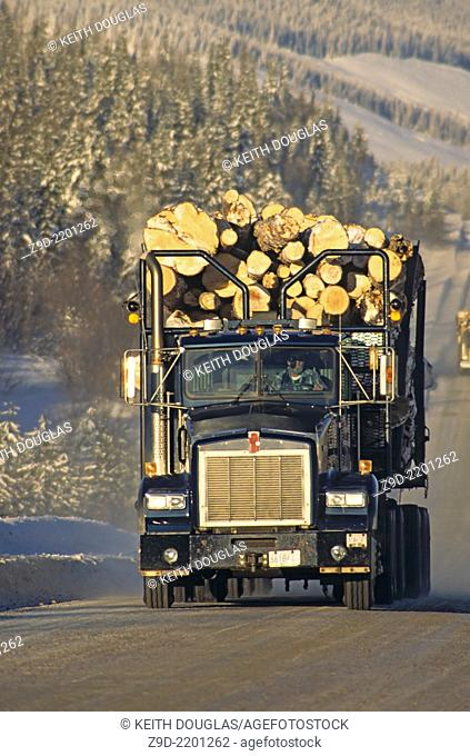 Loaded logging truck, Smithers, British Columbia