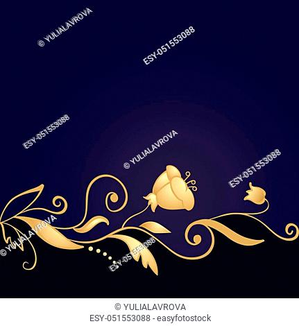 Golden floral ornament on purple background. Vector card
