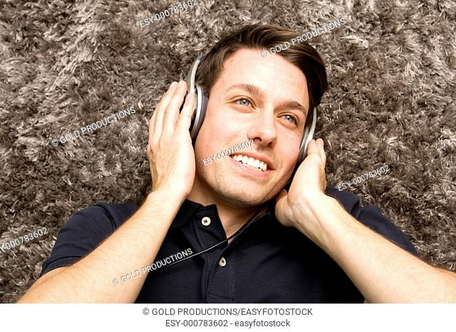 Young man listening music