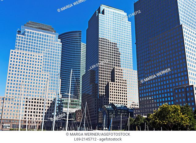 World Financial Center and North Cove Harbor at Hudson River, Lower Manhattan, New York, USA