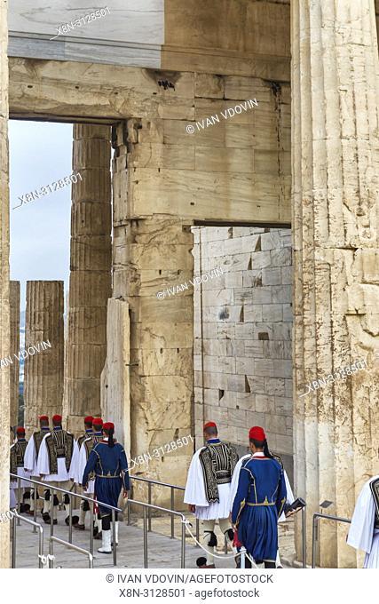 Ceremonial guard near Propylaea, Acropolis, Athens, Greece