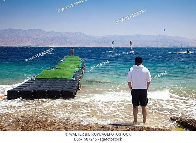 Israel, The Negev, Eilat, Red Sea, Coral beach, windsurfing