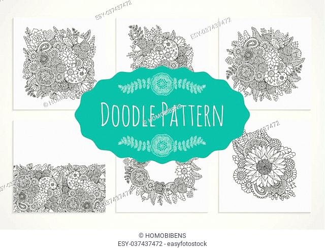 Set of doodle flower patterns black and white isolated on white background. Vector decorative elements for design of cards, invitations, banners, textile