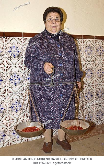 Traditional weighing of saffron with Roman scale, Villafranca De Los Caballeros, Toledo Province, Castilla-la Mancha, Spain, Europe