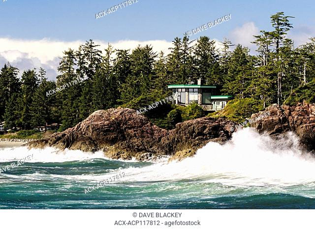 Waves crashing along the rocks at Rosie Bay near Chesterman Beach near Tofino, British Columbia