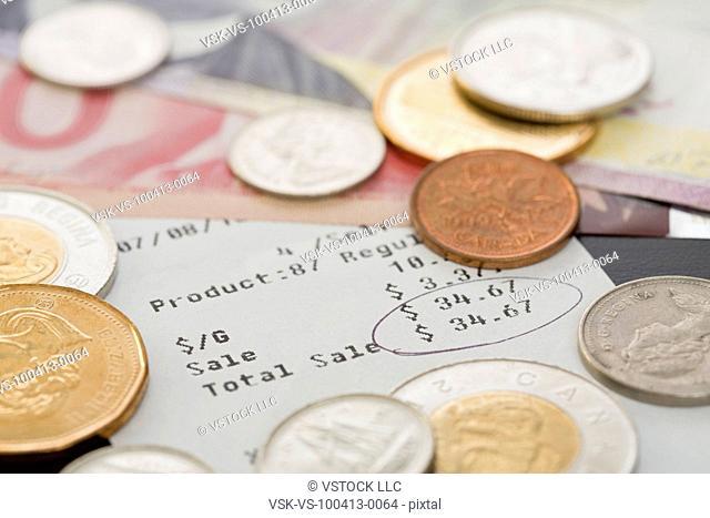 Restaurant receipt and money