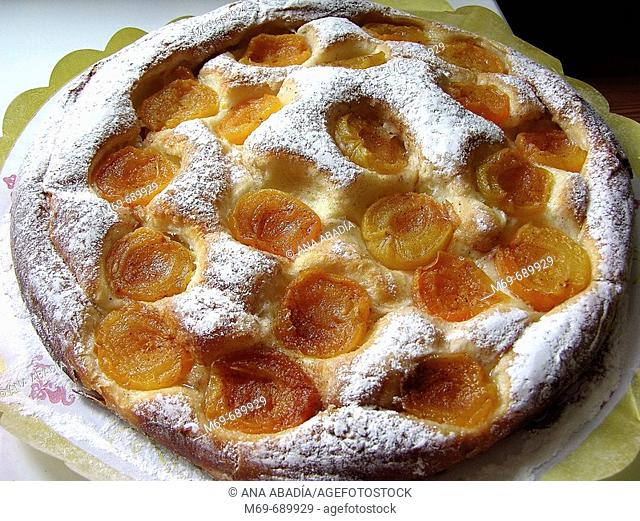 'Ensaimada' (typical Majorcan pastry) with apricots