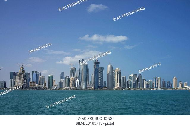 Doha city skyline on waterfront, Doha, Qatar