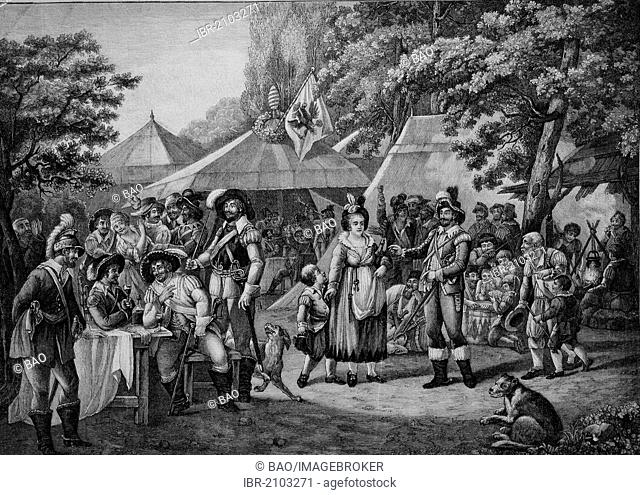 Wallenstein's camp, the first part of Friedrich Schiller's Wallenstein trilogy, a drama about the demise of a famous general, wood engraving, about 1880