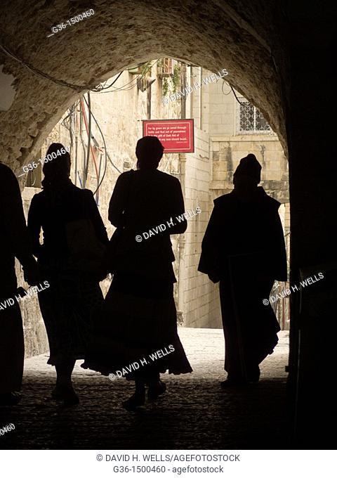 Pedestrians in the Old City in Jerusalem, Israel