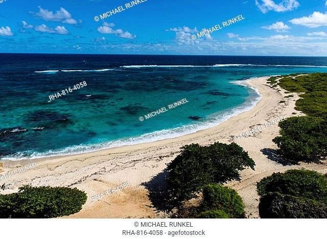 View over the turquoise waters of Barbuda, Antigua and Barbuda, West Indies, Caribbean, Central America