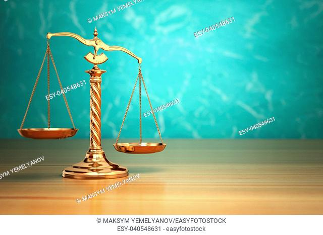 Concept of justice. Law scales on green background. 3d