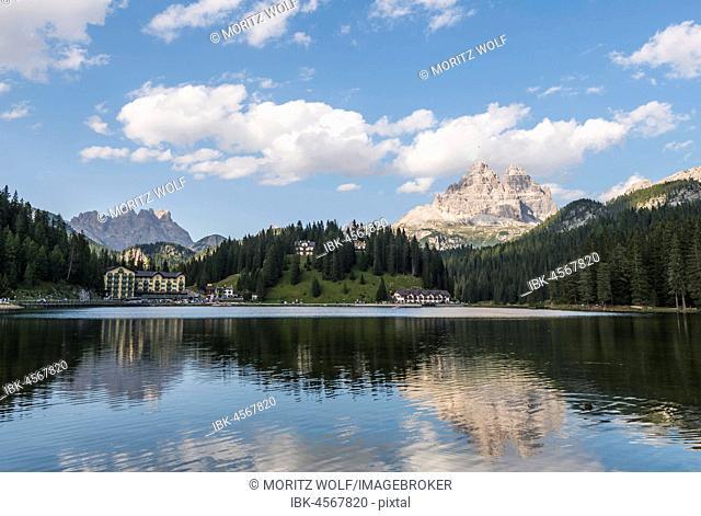 Lake Misurina with Three Peaks Dolomites, South Tyrol, Bolzano, Italy