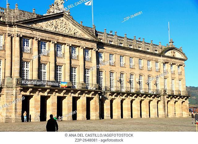 Raxoi palace on November 23, 2015 in Santiago de Compostela Galicia Spain