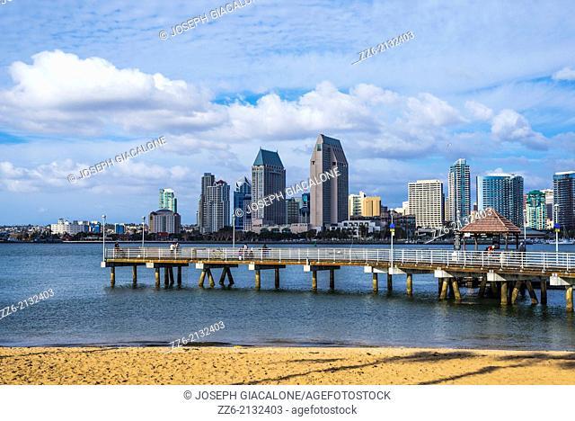 Coronado Ferry Landing Pier and San Diego Downtown Skyline. Coronado, California, United States