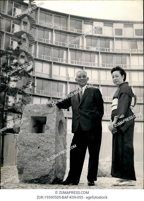 May 05, 1959 - Kyoto Mayor Visits Paris: Gizo Takayama, Mayor Of Kyoto (Japan) Is Now Visiting Paris With His Wife. Photo shows Gizo Takayama And His Wife...