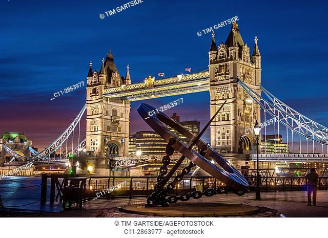 Tower Bridge, Time Dial, London, England,UK