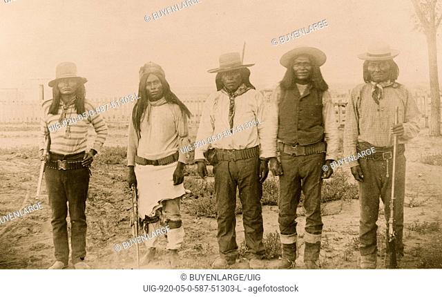 Four Mojave Indian chiefs--The second file from the left is Rowdy, a Yuma Indian, acting as interpreter
