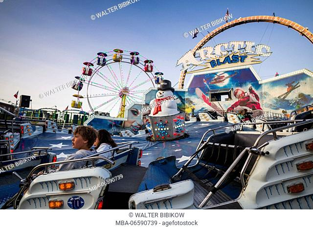 USA, Massachusetts, Cape Ann, Gloucester, St. Peter's Fiesta, Italian-Portuguese fishing community festival, Carnival, Arctic Blast ride