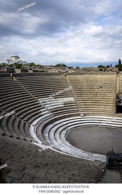 Pompeii, archeological site near Naples, Big Theatre, Teatro Grande, Italy