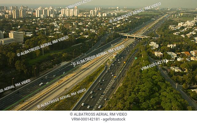 Ayalon Highway Tel Aviv City aerial shot