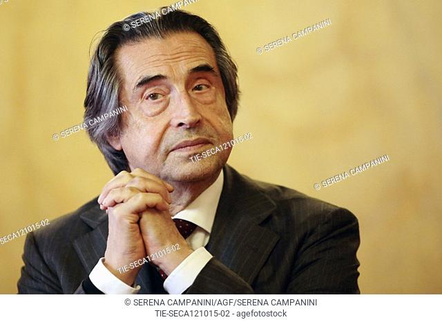 The conductor Riccardo Muti during the presentation of the concert in memory of the tenor Luciano Pavarotti at the Theatre Luciano Pavarotti, Modena