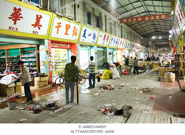 Covered market at closing time