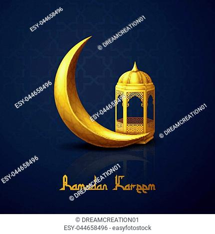 Vector illustration of Ramadan Kareem greeting background with crescent moon and arabic lantern
