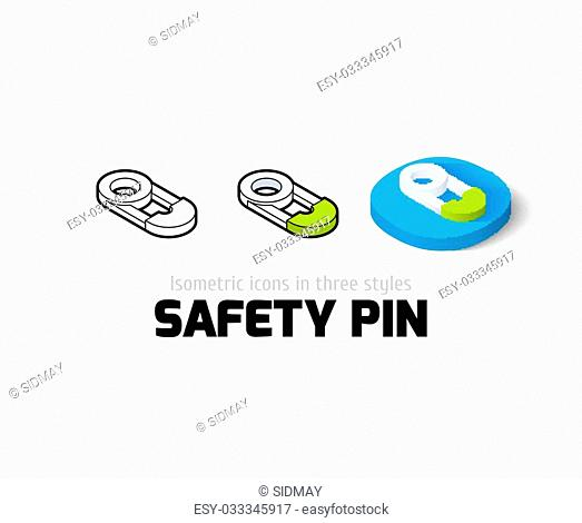 safety pin icon, vector symbol in flat, outline and isometric style