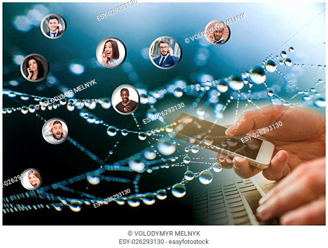 Hand holding modern mobile phone and web subscribers. Social media concept