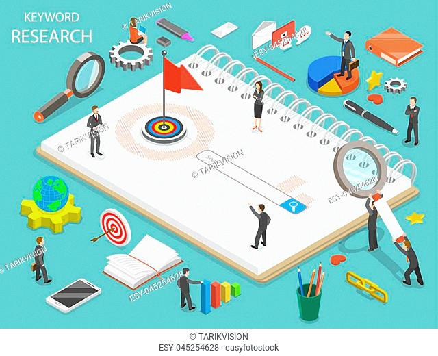 Keyword research flat isometric vector concept. Team of colleagues are standing around the search line that is a part of the drawn key