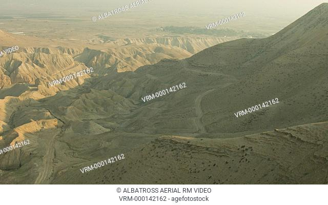 Israel Judean Desert a hill peak passing by aerial shot