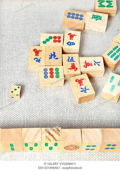 top view of wooden tiles of mahjong desk game