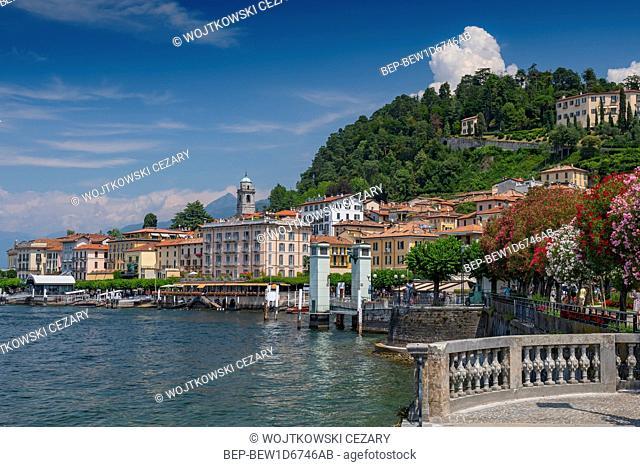 View on coast line of Bellagio village on Lake Como, Italy
