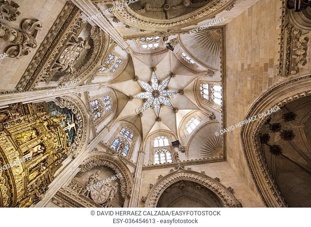 Interior of Famous Landmark gothic cathedral in Burgos, Spain