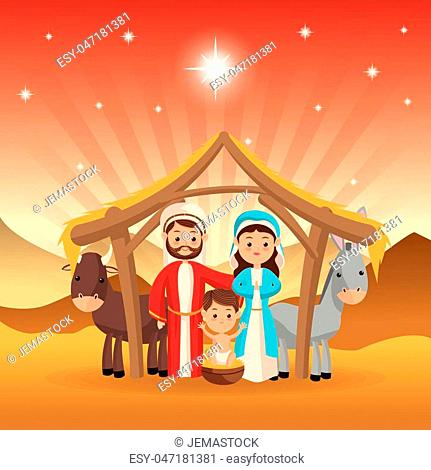 Merry Christmas and holy family concept represented by joseph maria jesus donkey and cow icon over desert landscape. Colorfull illustration
