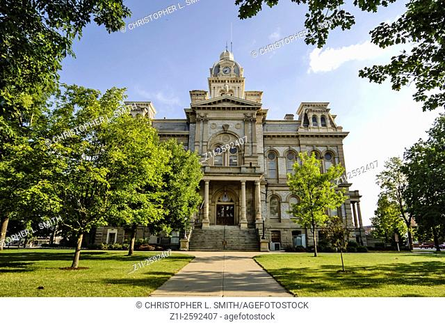 The Shelby County Courthouse and fountain in Sidney Ohio. Named after the English Poet Sir Phillip Sidney