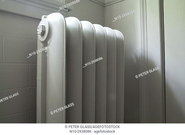 Old radiator in a bathroom