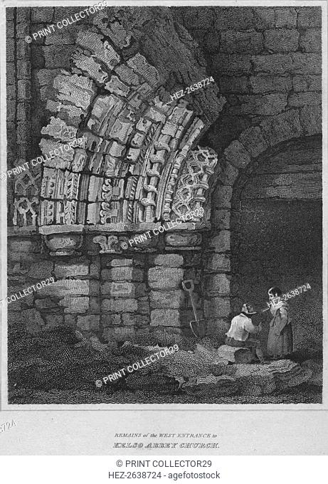 'Remains of the West Entrance to Kelso Abbey Church', 1814. Artist: John Greig