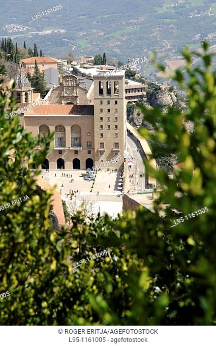 View of the main building of the sanctuary of Montserrat, religious center of Catalonia, Spain